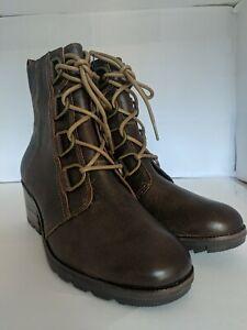 Sorel Cate Lace Waterproof Leather Bootie Velvet Tan Women's Size 8.5 Boot