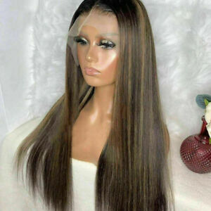 Luxury Lace Front Dark Brown Balayage Human Hair Full Lace Wig Highlights Blonde
