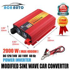 2000 Watt 4000W Max 12v DC 24V DC to 110 vac  volt AC car truck power inverter