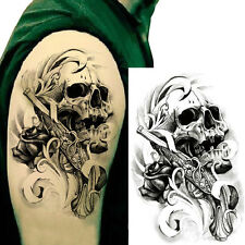 2PCS Skull Body Sticker Tattoo for Men Make Temporary Tattoos Paper Fake Tatoos.