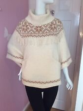 ASOS Wool Blend Knitted Cream Aztec Tribal Roll Neck Tassle Pocket Poncho Cape