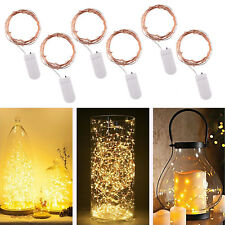 6 X20 LED Battery Copper Wire String Fairy Lights Warm White Wedding Party Light