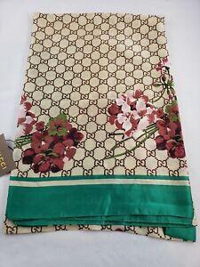 Gucci  Floral Green NWT Bordered Silk Scarf