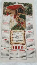 Vintage 1969 Cloth Wall Hanging Linen Cloth Material Calendar Collectible