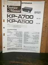 Pioneer KP-A700,A500 Cassette Car Stereo  Tuner Service Manual.