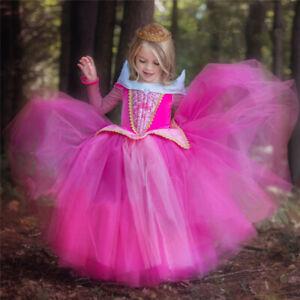 Sleeping Beauty Princess Aurora Fancy Birrhday Party Girl Dress Size 4-10