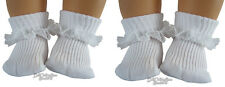 """2 Pair of White Lace Trim Socks for 15"""" Bitty Baby +Twins Doll Clothes Accessory"""