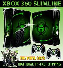 Xbox 360 Slim Aufkleber Grün Bio-Hazard Gefahr Stil Hülle & 2 Controller Polster