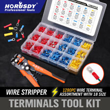 1280Pc Electrical Wire Terminal Kit & 5in1 Cable Crimpers Cutter Stripper Pliers