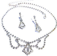 Rhinestone Necklace Choker Earring Set Austrian Crystal
