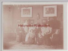 (F14186) Orig. Foto Gruppenbild in der Stube zu Sylvester 1909/10