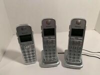 3 Panasonic KX-TGE474S DECT 6.0 Cordless Expansion Handsets w Charging Stands