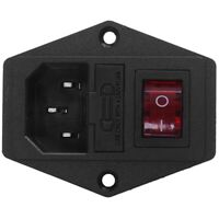3 Pin IEC320 C14 Inlet Module Plug Fuse Switch Male Power Socket 10A 250V P3F4