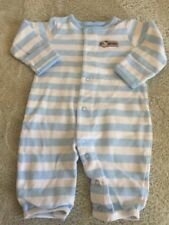 Just One Year Boys White Blue Striped Dog Long Sleeve Pajamas 3 Months