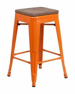 """Flash Furniture 24"""" Orange Metal Counter Height Stool with Square Wood Seat New"""