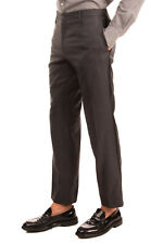 DOLCE & GABBANA Flat Front Trousers Size 50 / L Wool & Silk Blend Grosgrain Trim