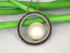 Collier in 750/18k oro bianco con 105 BRILLANTI und einer MARI DEL SUD perla