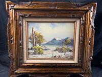 Vintage Morris Oil Painting on Board Landscape Signed Framed Art MCM