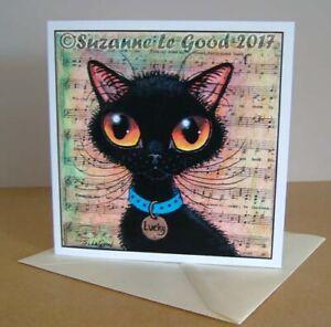 Black Cat art Good Luck painting art card cute original design Suzanne Le Good
