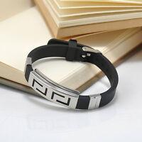 Fashion Men's Punk Clasp Cool Bangle Wristband Cuff Steel Bracelet Rubber Black