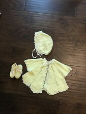 Vintage Baby Girl Yellow Crochet Sweater, Bonnet, And Booties
