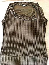 Michael Kors New WOT Sleeveless Cowl Neck Women's Top.Sz XS.Blk/Brn Herringbone