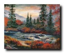 Forest Creek Tree Landscape Scenery Nature Wall Picture Art Print (8x10)