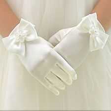 WHITE SATIN GLOVE WITH BOW PRETTY FIRST COMMUNION GIRL CHILDS DRESS/VEIL