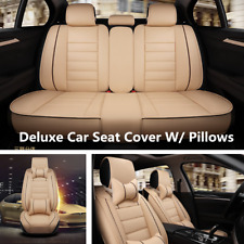 Comfortable PU Leather Car Seat Cover Cushions Front & Rear 5 Seats w/Pillows