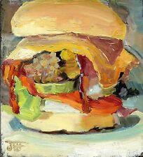 HAMBURGER original oil painting 5 x 5.5 Realism Food Decor kitchen art signed