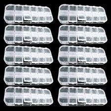 10 PCS 120 EMPTY DIVIDED PLASTIC BOX CASE SET for NAIL ART Tips Decoration