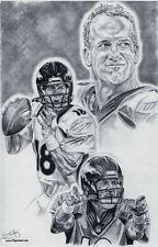 Peyton Manning of Denver Broncos drawing sketch poster - art