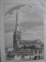 St Mary Redcliffe Church Bristol 1875 old print