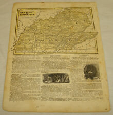1844 COLOR MAP of KENTUCKY, TENNESSEE, b/w FLORIDA///Morse