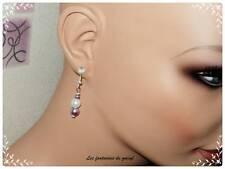 boucles d'oreilles perle nacrée parme,mariage