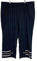 TS Taking Shape Womens Black Striped Capri Pants Plus Size 22 W42 L24