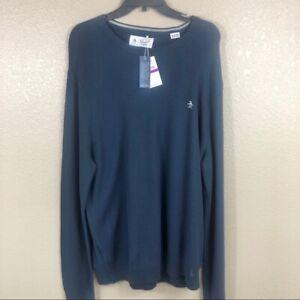 Original Penguin Men's Navy Blue Logo Long Sleeve Knit Sweater XXL 2XL New