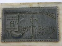 Vintage Daniel Boone Rifle Knife Axe Gunpowder U.S Stamp Marble Paperweight