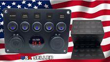 Car/Marine/Boat 5-Gang Waterproof Circuit Blue LED Rocker Switch Panel Breaker