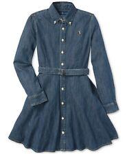 POLO RALPH LAUREN NEW KIDS GIRLS LONG SLEEVE BELTED COTTON BLUE DENIM DRESS 10