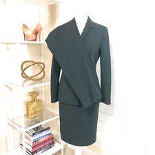 Pre-Owned Carlisle 3pc Career Wool Skirt & Pants Suit, Black & Green, Sz. 4