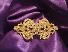 Rhinestone Bling Gold Tone Women's Opera Cape Clasp Cinderella Bridal Cloak