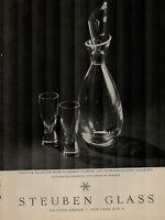 1955 Steuben Glass Liqueur Decanter With Tear Drop Stopper Vintage Print Ad 2391