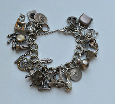 Antique Sterling Silver mix Charm Bracelet various kind  Charms Long 7 ""
