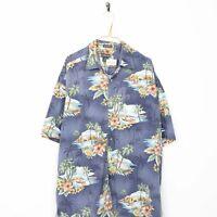 Vintage Abstract Short Sleeve Hawaiian Festival Shirt Blue | 2XL