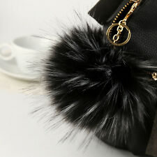 Real raccoon Fox fur Ball Pompom Keyring HandBag Pendant Cell phone keychain 14