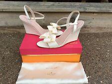 Kate Spade Iballa Bow Ivory Grosgrain Ankle Strap Open Toe Wedge Heel 6.5 Bridal