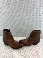 Tony Lama Anahi Buckstitch Brown Leather Side Zip Western Boots Women's Size 10B