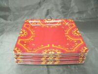 """Bobby Flay Set of 10-10 5/8"""" Dinner Plates Square Red Yellow Party Melamine EC"""