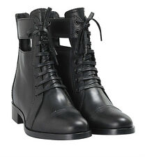 MIU MIU Black Calf Leather Cutout Lace-Up Boots with Concealed Heel Size 39
